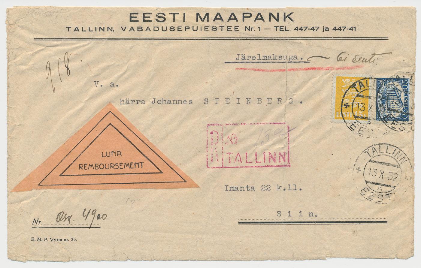 0107a-lunamaksuga-Tallinna-kohalik-1932-postiajalugu-ee