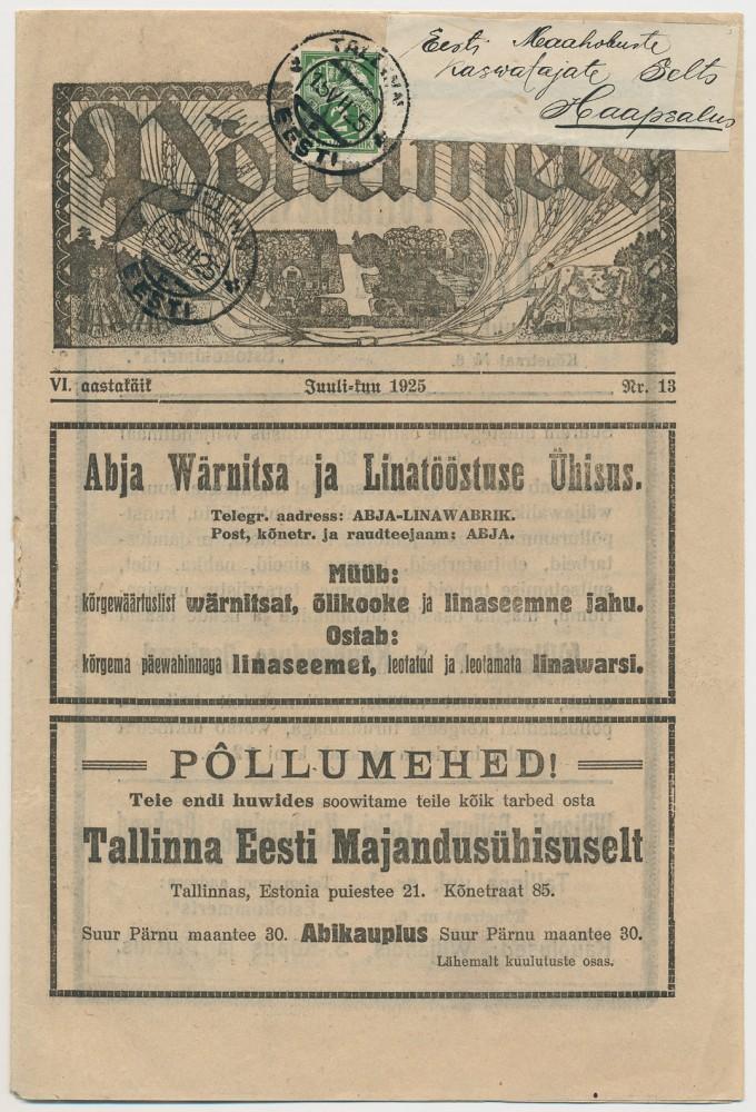 0168-Ajakiri-Põllumees-2mk-Tallinn-Haapsalu-1925