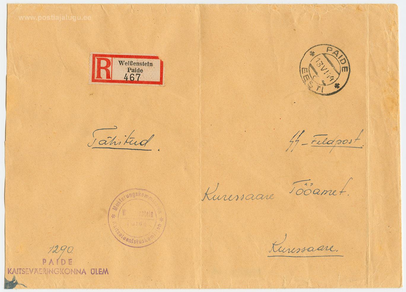0336a-SS-välipost-Paide-Kuressaare-1944