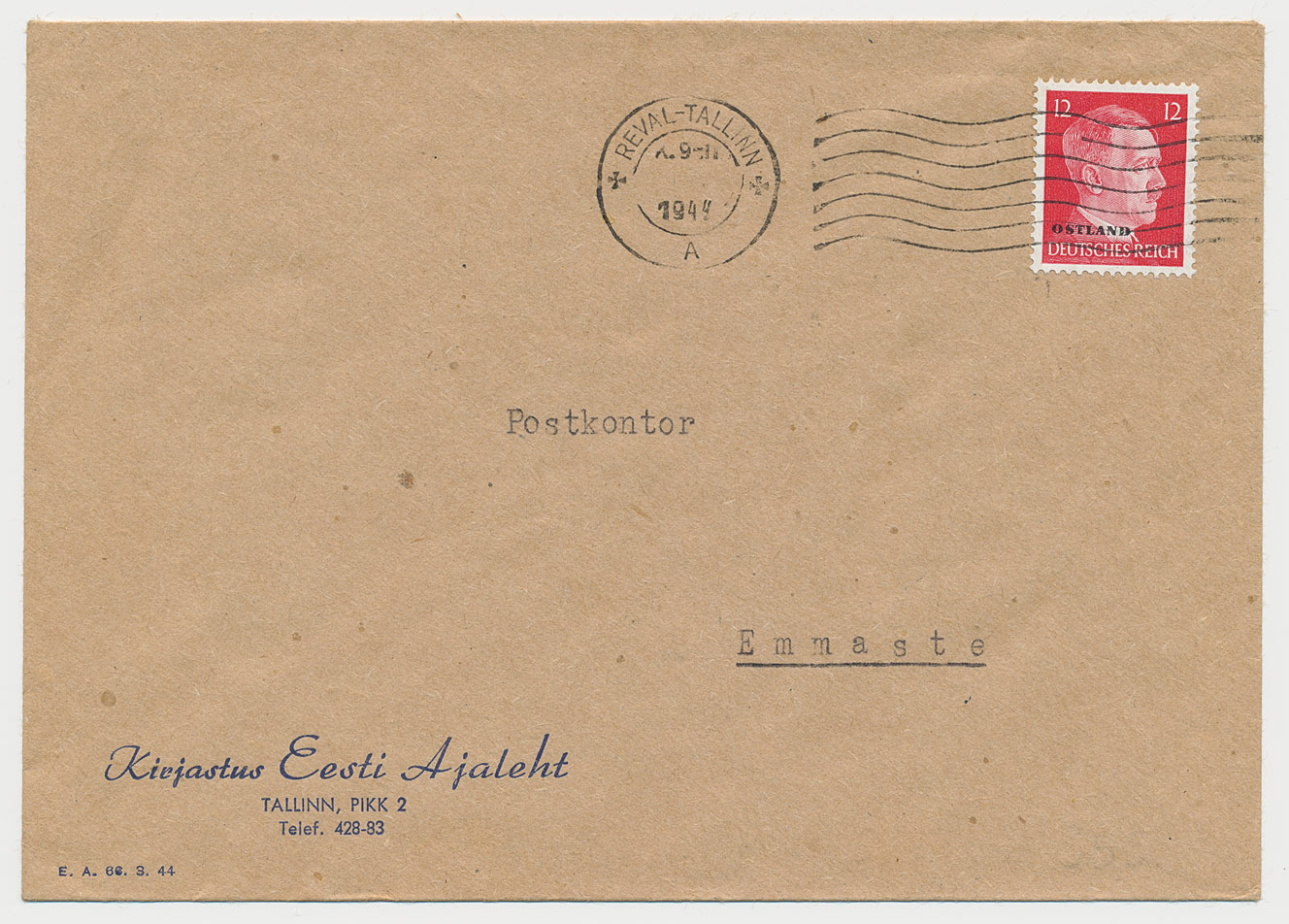 0351-Ostland-Reval-Tallinn-masintempel-kuupäevata-Emmastesse-1944-postiajalugu-ee