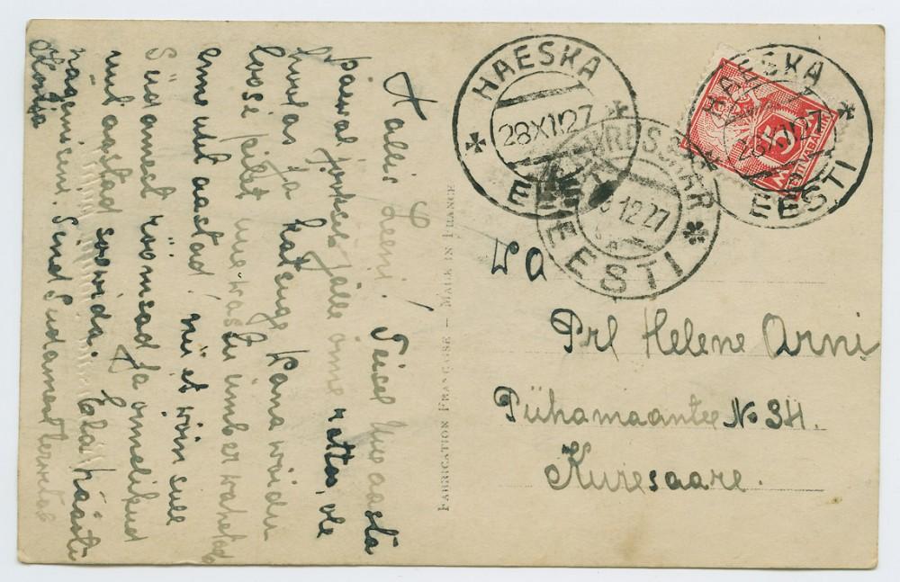 0524-Haeska-Kuressaare-1927-postiajalugu-ee