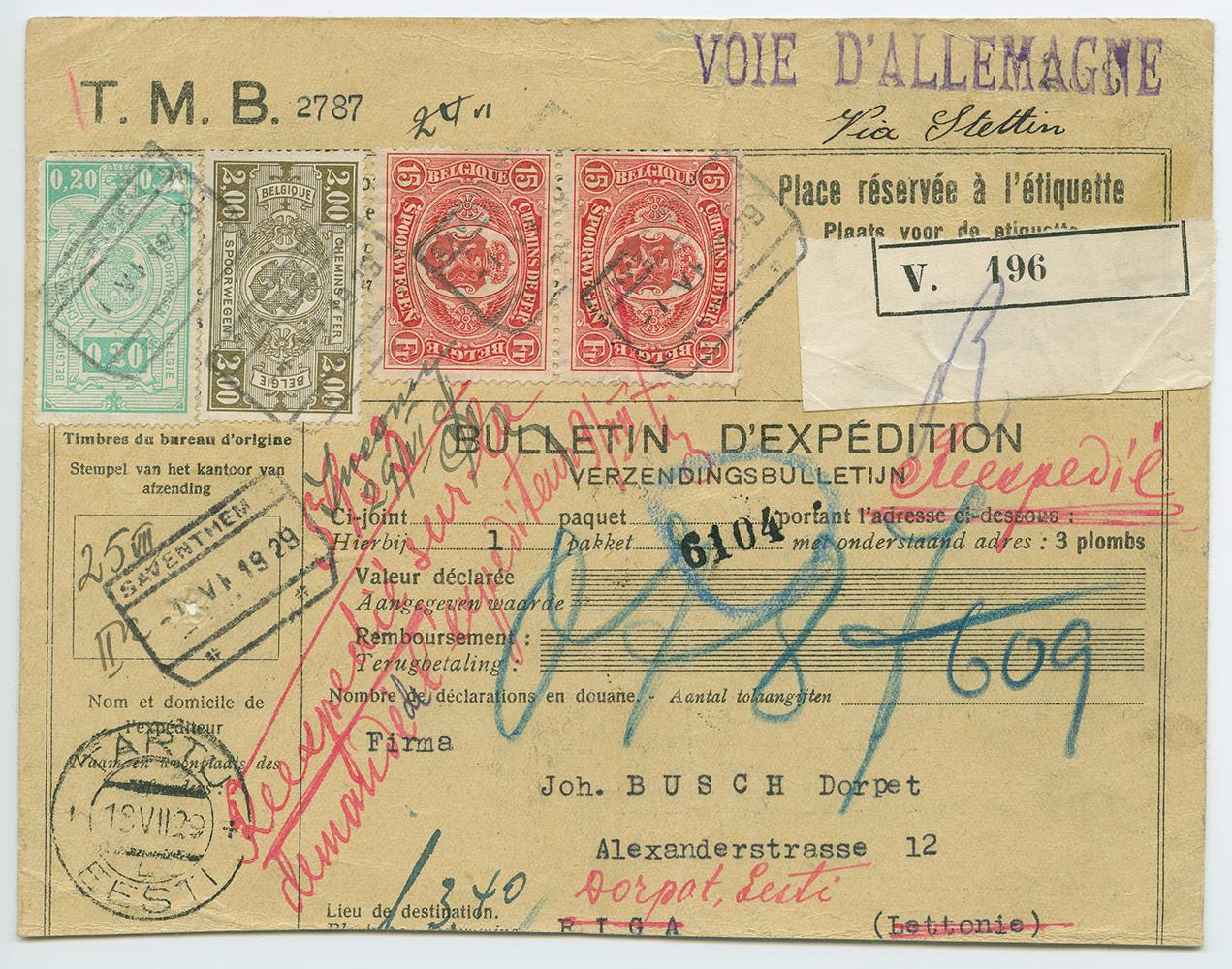 0578a-300mk-maakaardimarkidega-pakikaart-Zaventem-Tartu-1929-postiajalugu-ee