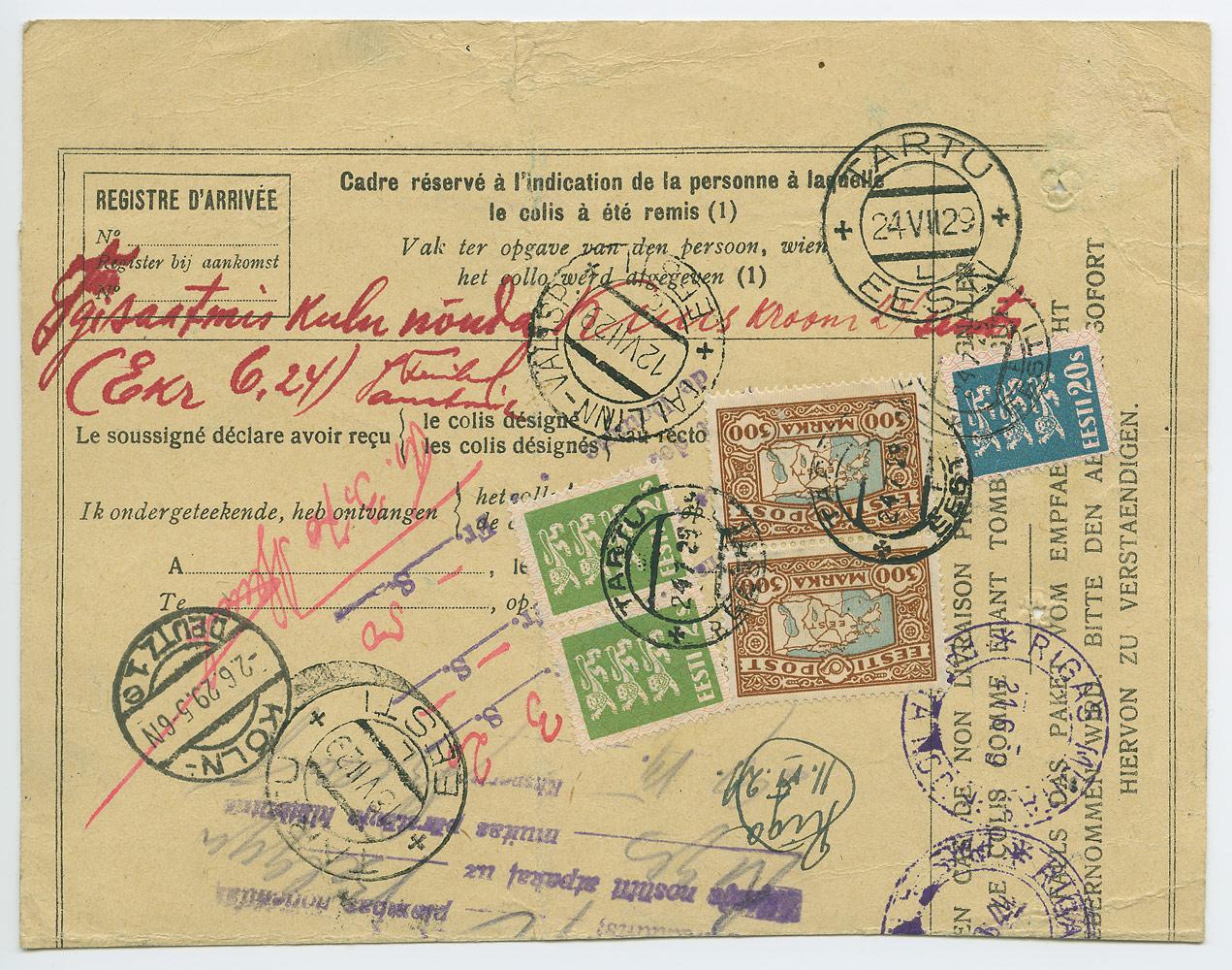0578b-300mk-maakaardimarkidega-pakikaart-Zaventem-Tartu-1929-postiajalugu.ee