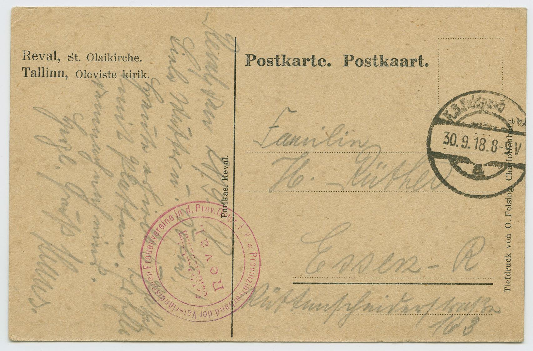 0615-Feldpost-Estland-Reval-Soldatenheim-1918-postiajalugu-ee