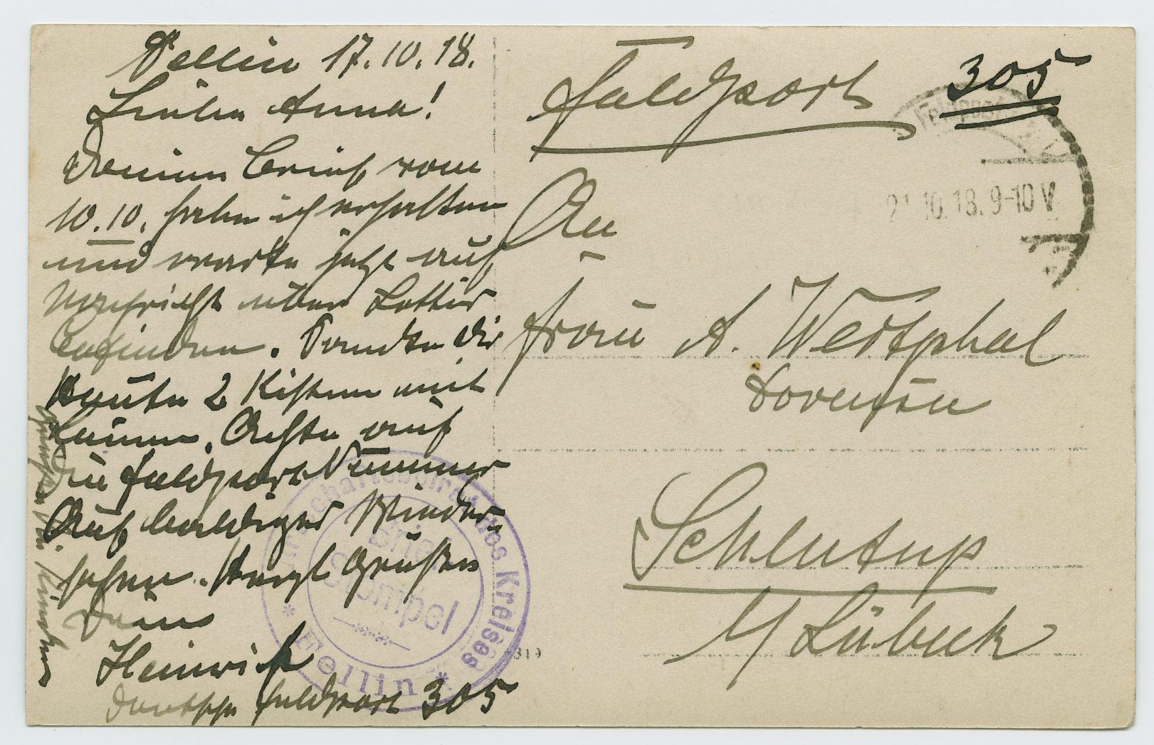 0616-Feldpost-305-Estland-Fellin Briefstempel-1918-postiajalugu-ee