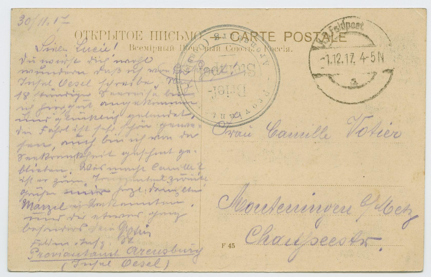 0624a-Feldpost-Estland-Proviantamt-Arensburg-Oesel-1917-postiajalugu-ee