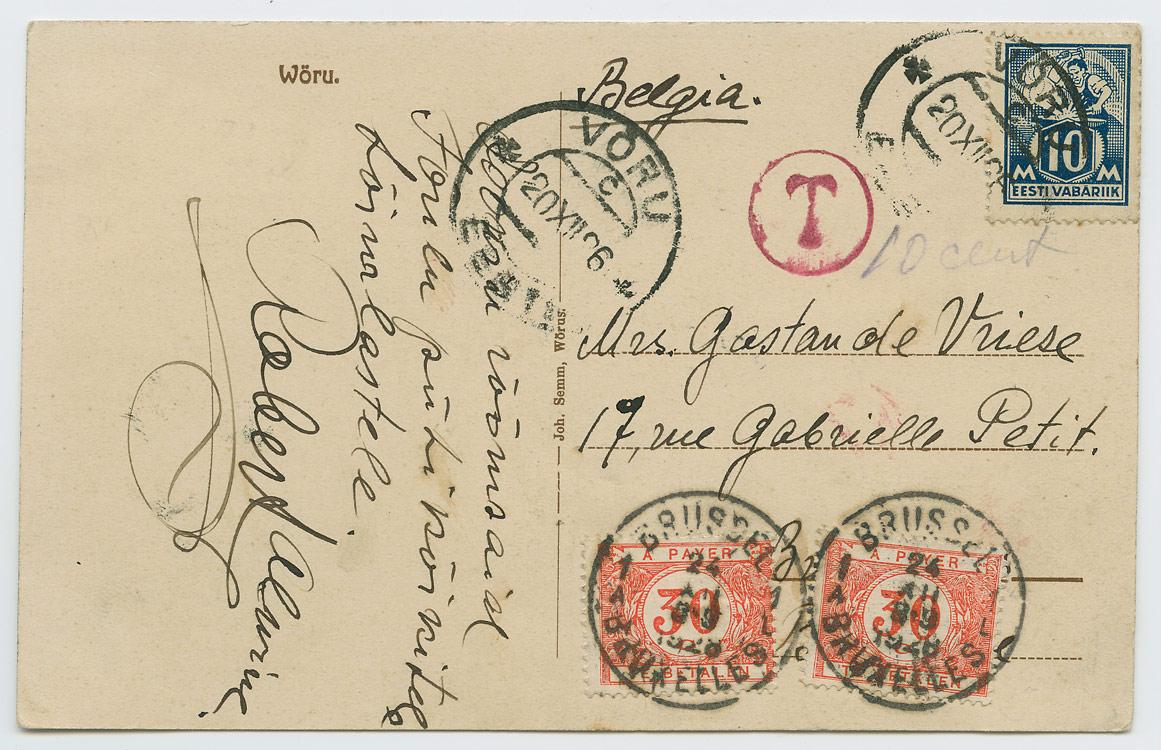 0652a-Võru-postkontor-Brüssel-1926