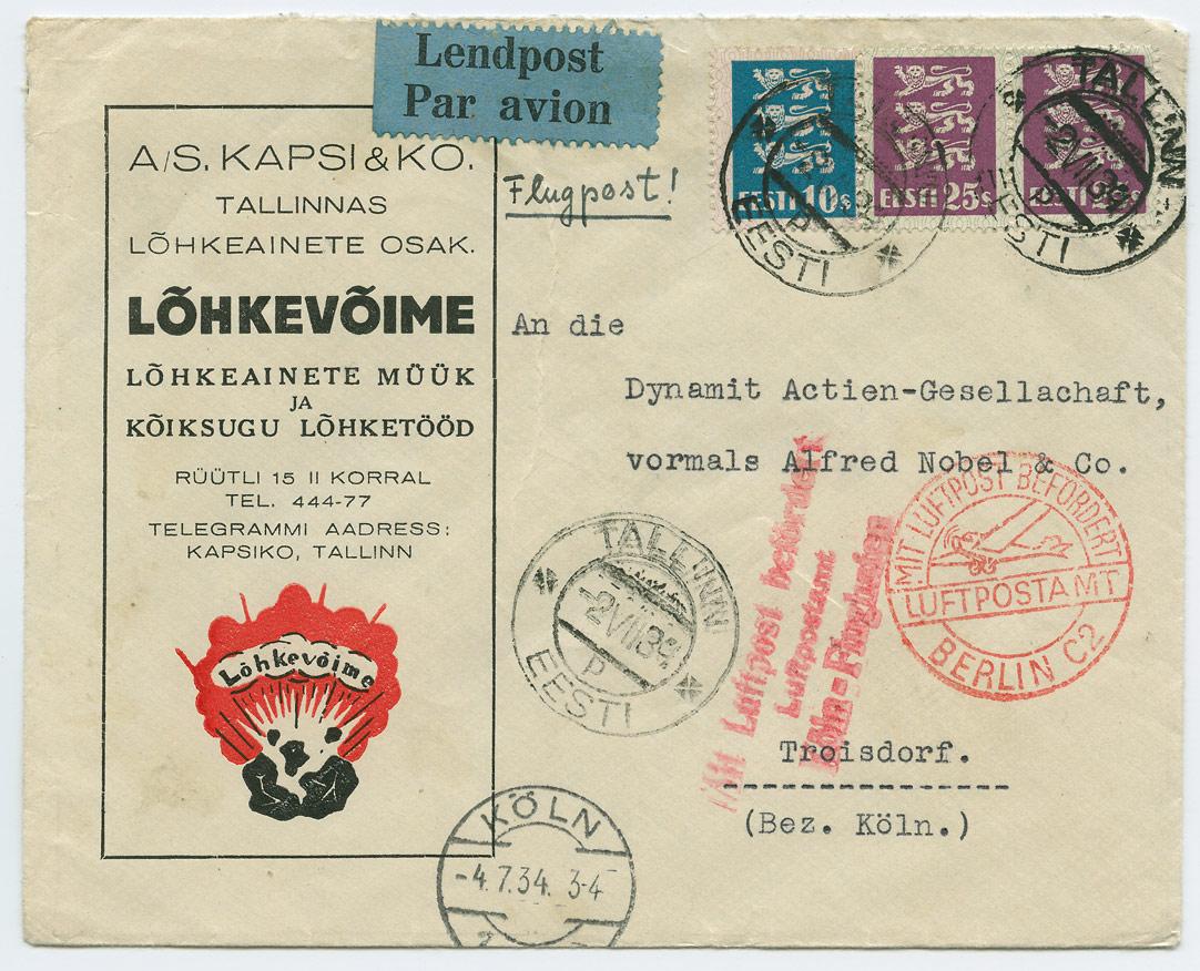 0701a-Kapsi-Lõhkevõime-Tallinn-Köln-lennupostiga-postiajalugu-ee