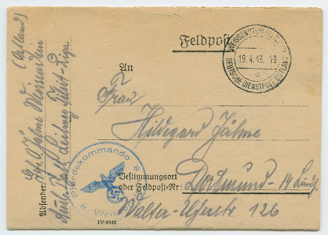 0726a-Feldpost-Pferdekommando-Weissenstein-Dortmund-1943