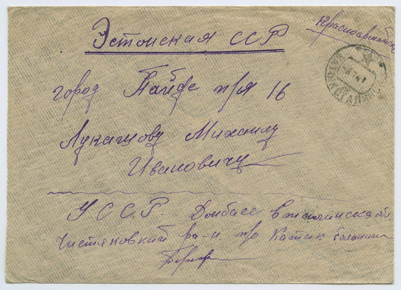 0814a-Punaarmeelase-kiri-Donbass-Paide-1941-postiajalugu-ee