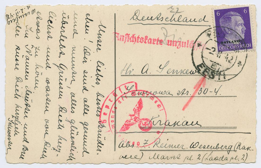0833a-Rakvere-Krakau-1942-Ansichtskarte-unzulassig-postiajalugu-ee