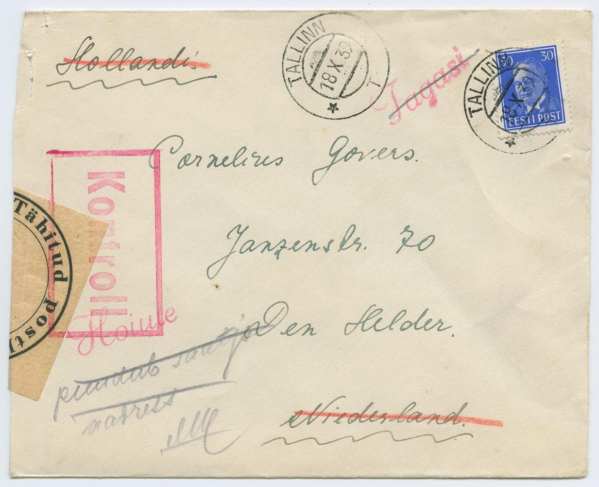 0851a-Tallinn-Hollandi-tsensuuris-kinni-peetuid-1939-postiajalugu-ee