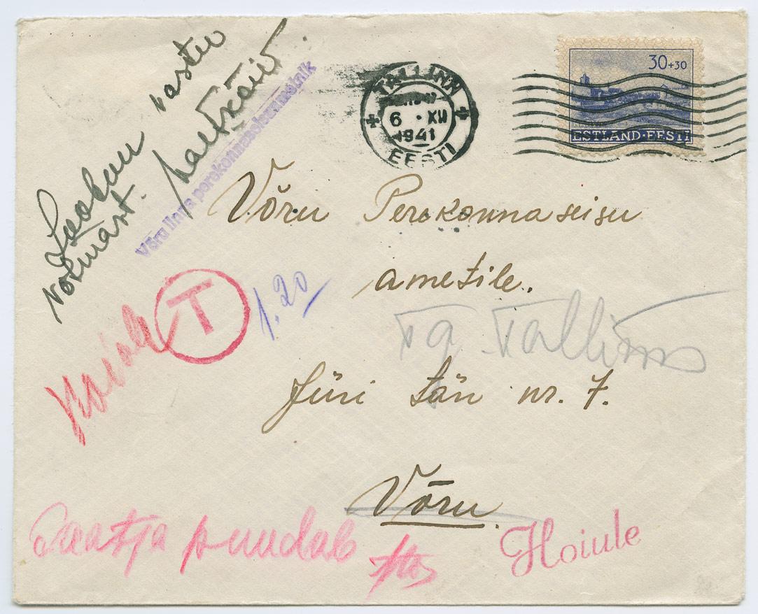 0852-Tallinn-Voru-saatja-puudub-hoiule-1941-postiajalugu-ee