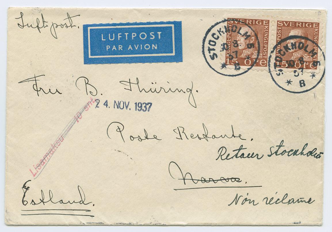 0910a-Stockholm-Narva-Lisamaks-10s-1937-postiajalugu-ee