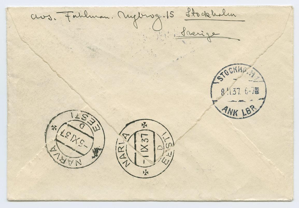 0910b-Stockholm-Narva-Lisamaks-10s-1937-postiajalugu-ee