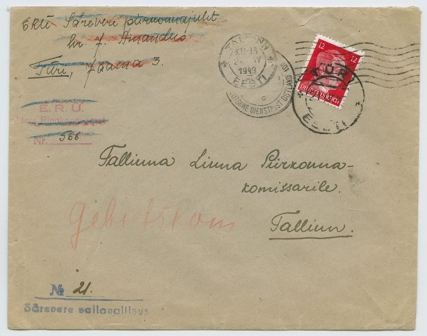 0986-ERU-Jarva-Ringkonnaamet-Sarevere-Tallinn-1943-postiajalugu-ee