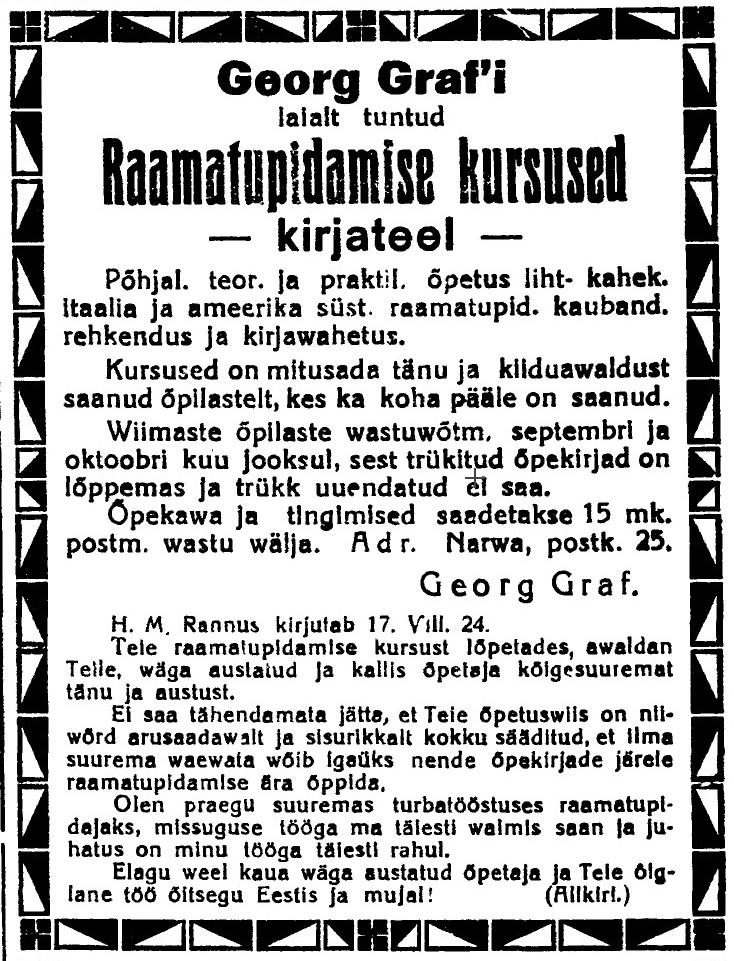 0988-Grorg-Graf-Narvas-Raamatupidamise-kursused-Sakala-21-09-1924