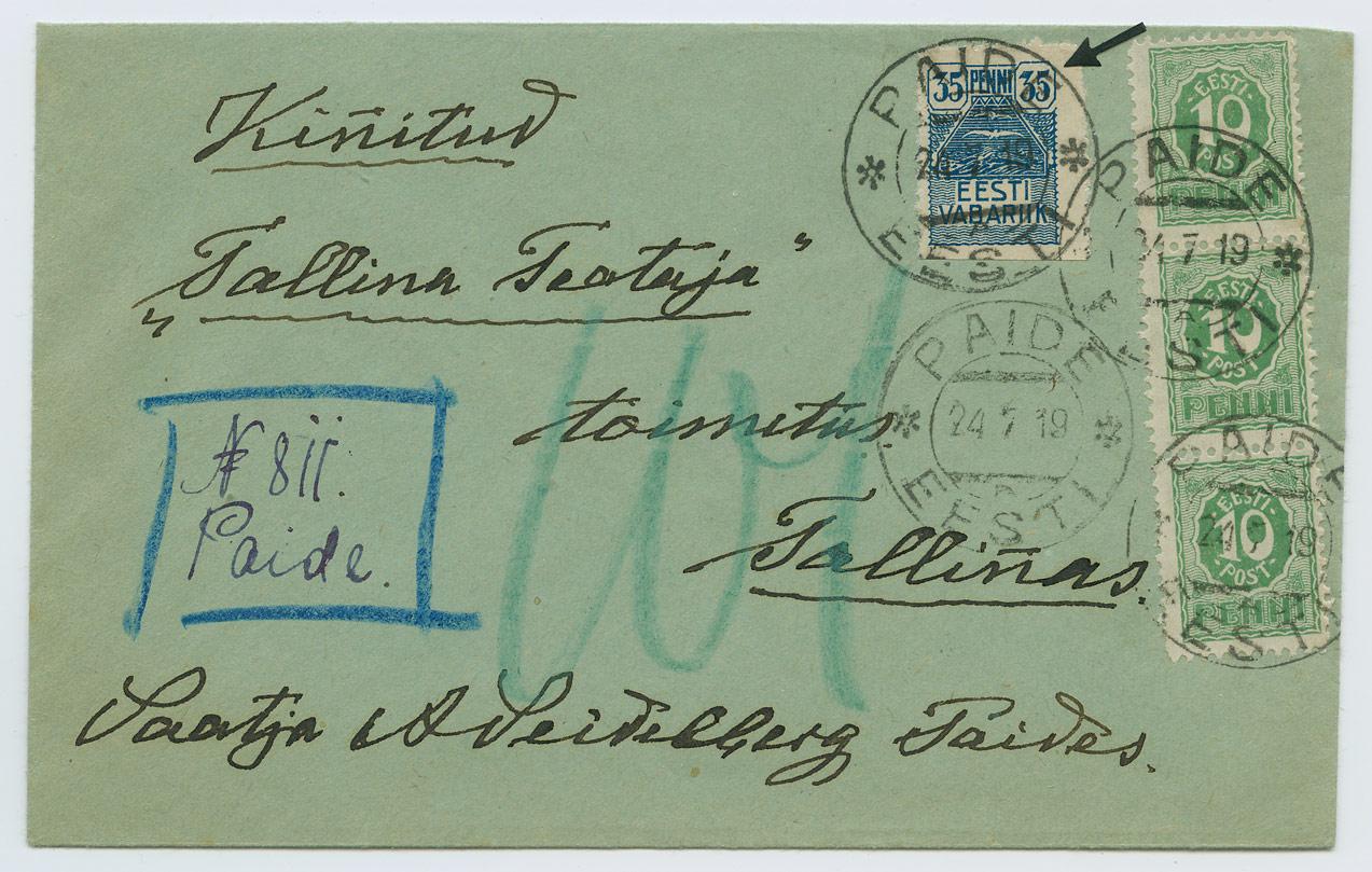1020a-Paide-Tallinn-ajutine-tahtkiri-1919-Seidelberg-postiajalugu-ee