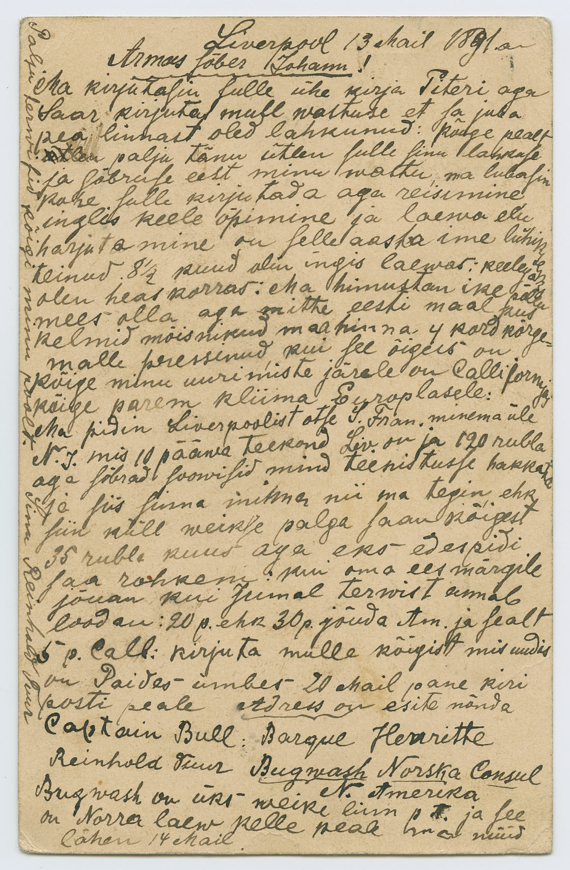 1035b-seikleja-Reinhold-Tuur-Liverpool - Paide-1891-postiajalugu-ee
