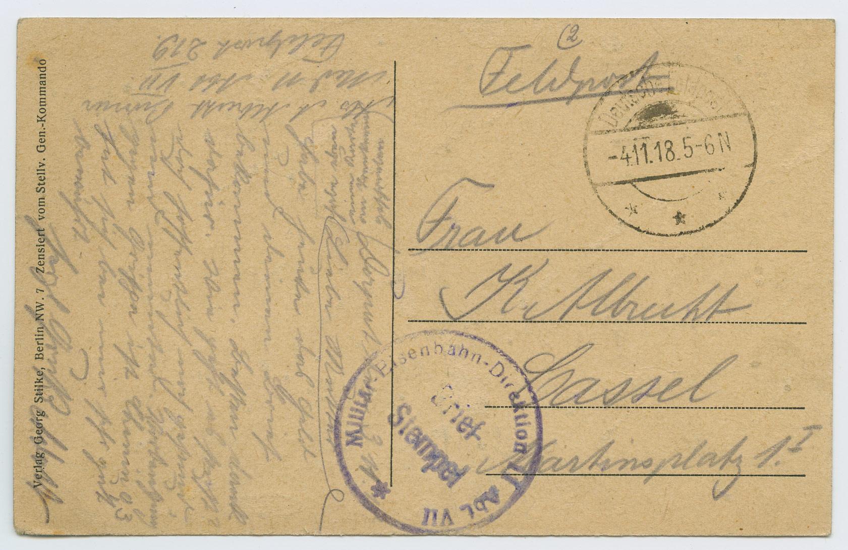 1068a-Militar-Eisenbahn-Direktion-II-Abt- VII-Brief-Stempel-Dorpat-Cassel-1918-postiajalugu-ee