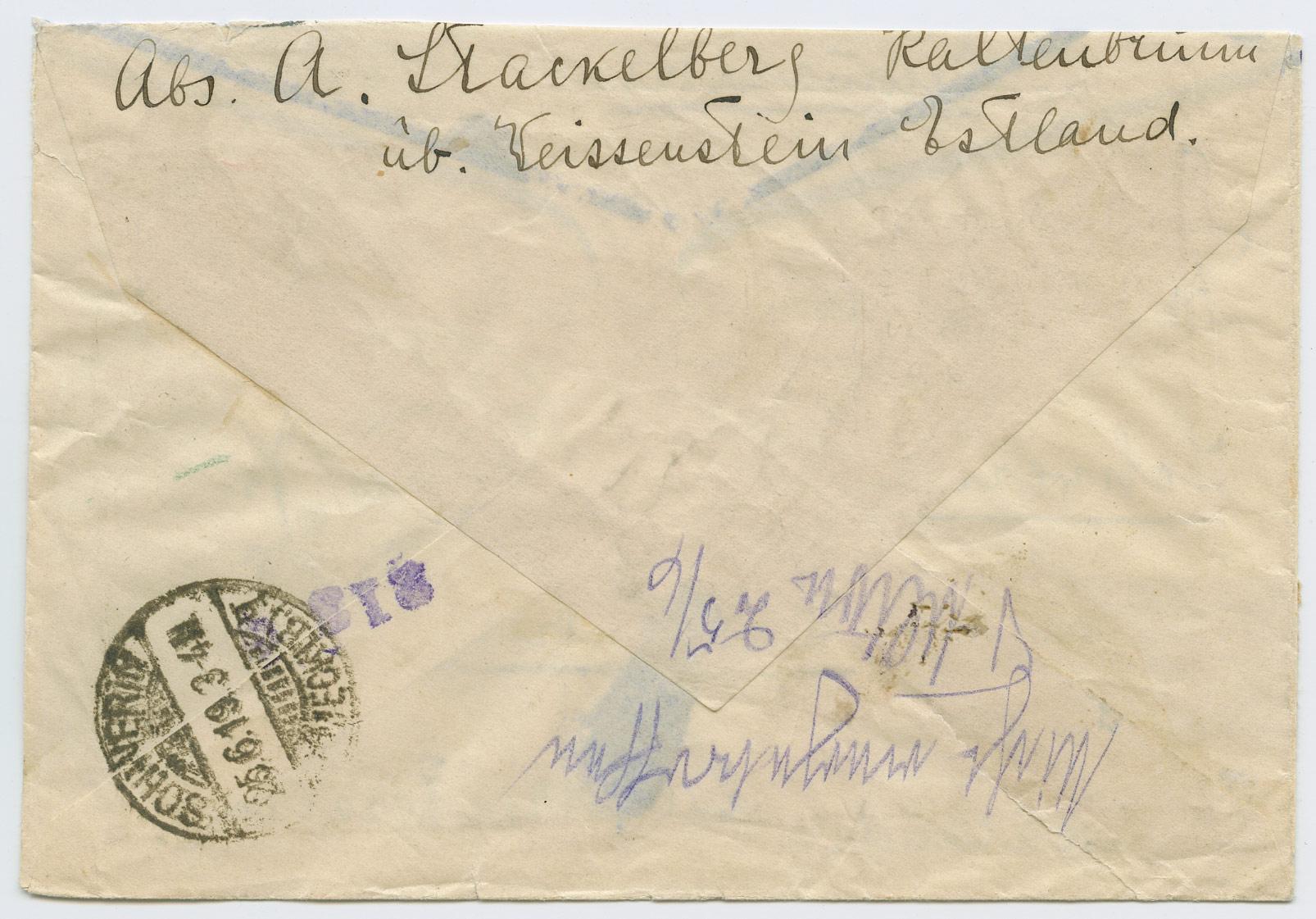 1070b-Paide-Schwerin-ajutine-tähitud-1919-postiajalugu-ee