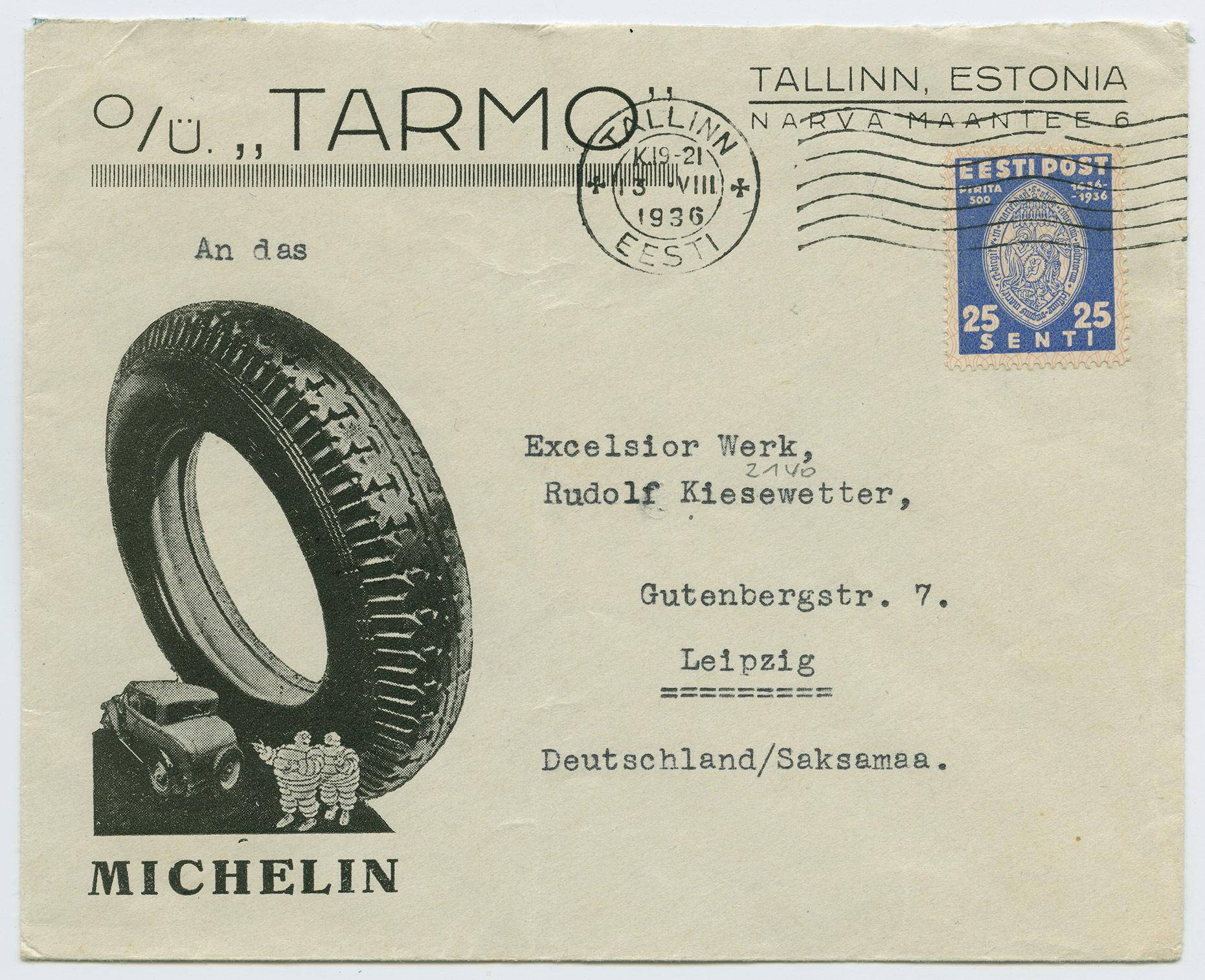 1093-Tallinn-Leipzig-Michelin-Tarmo-reklaamümbrik-1936-postiajalugu-ee
