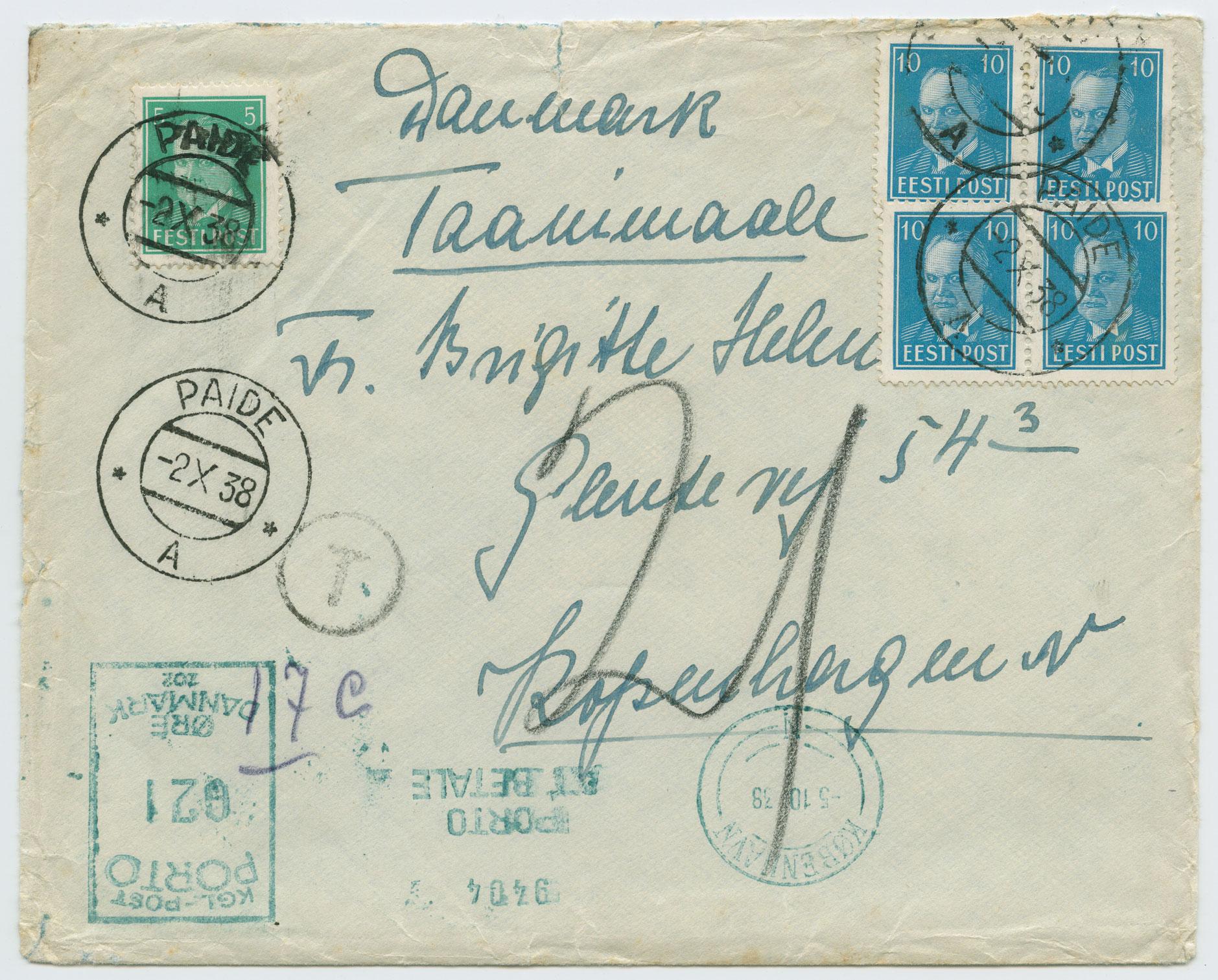1105a-Paide-Kopenhaagen-juurdemaksuga-1938-apteeker-Edgar-Jacoby-postiajalugu-ee