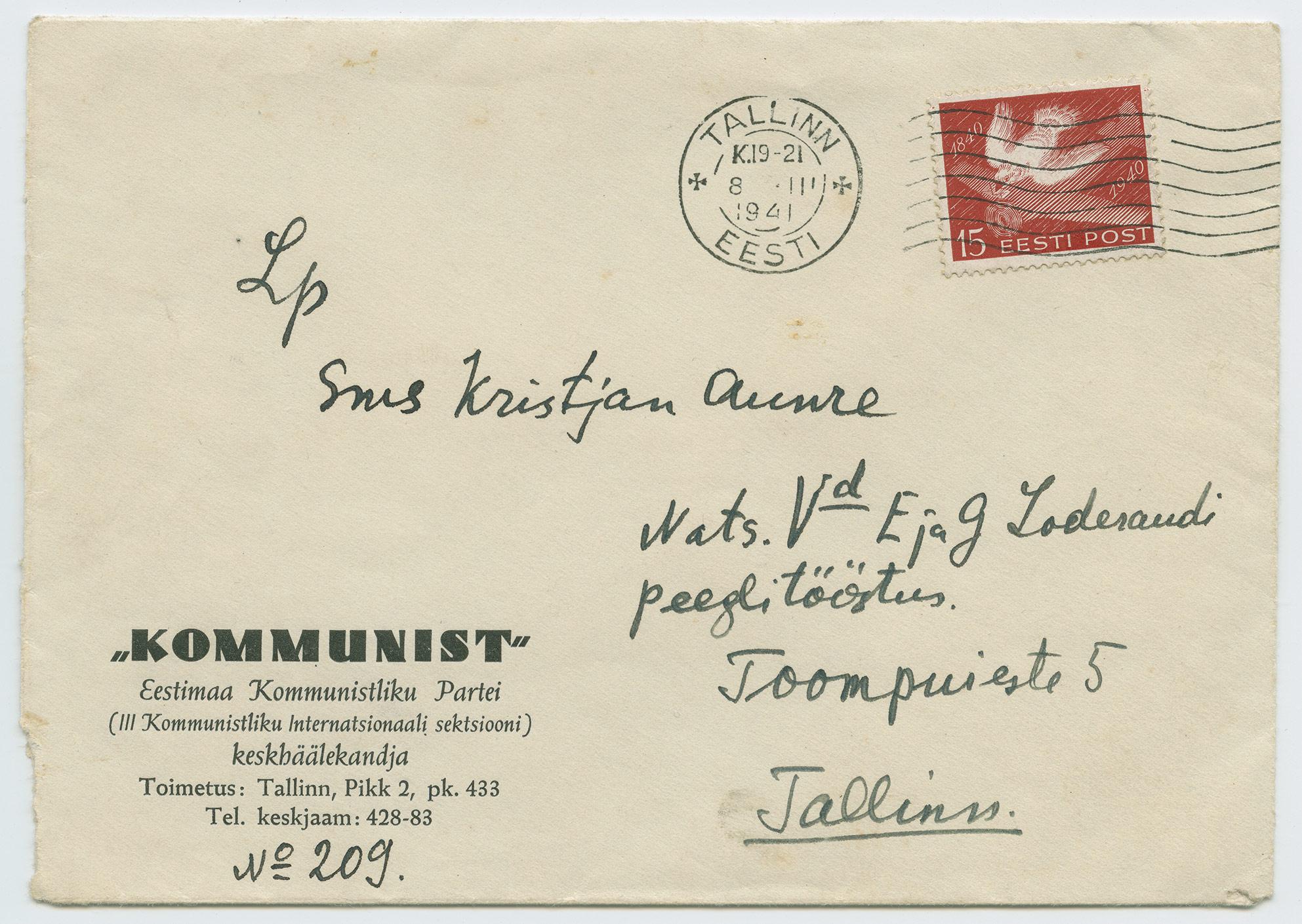 1201a-Ajaleht-Kommunist-Tallinn-Loderandi-peeglitööstus-postituvi-1941-postiajalugu-ee