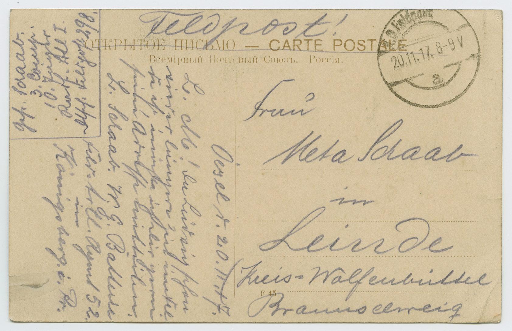 1210a-Feldpost-1917-Estland-Ösel-Leinde-Wolfenbüttel-postiajalugu-ee