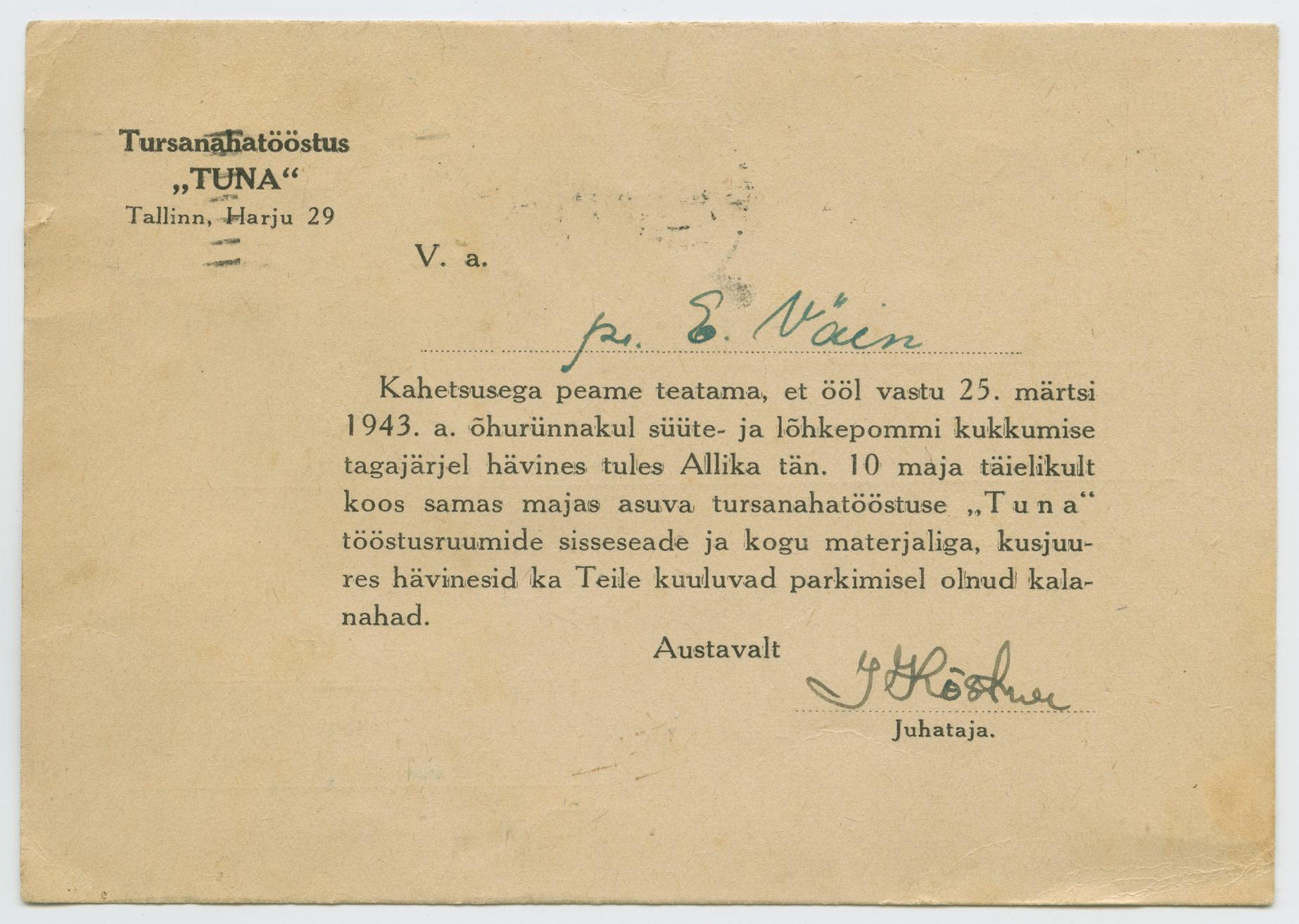 1237b-tursanahatööstus-Tuna-Tallinn-märtsipommitamine-1943-postiajalugu-ee