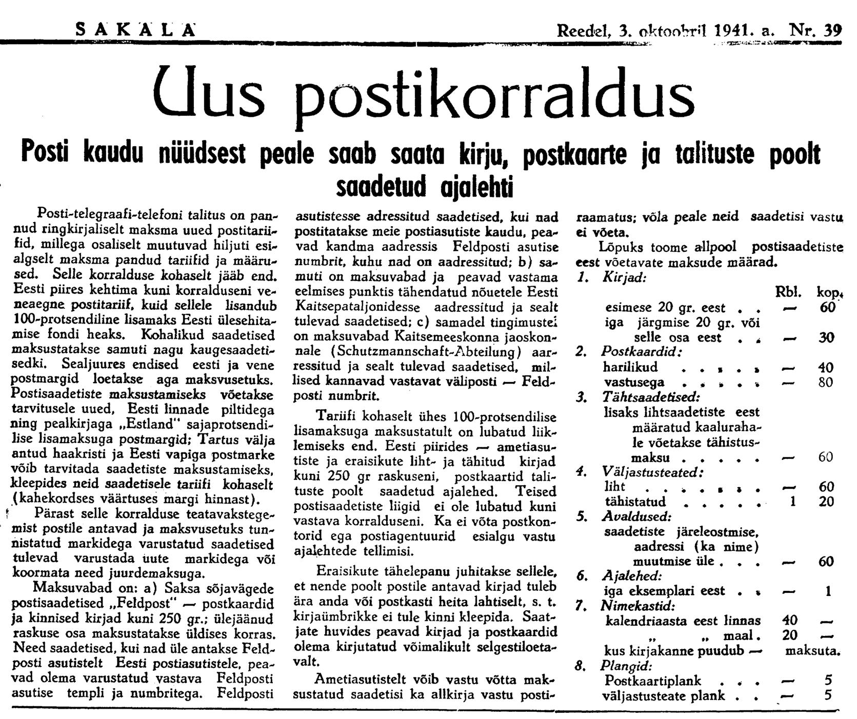 1941.10.03-Uued-postitariifid-Sakala-postiajalugu-ee