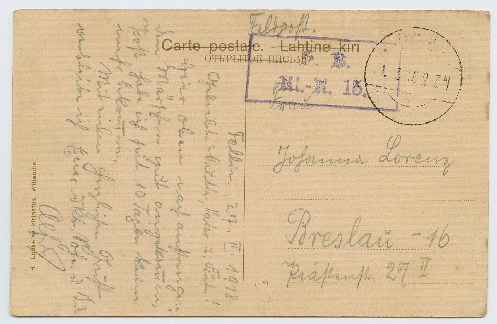 992a-Feldpost-Estland-Fellin-Breslau-1918-postiajalugu-ee