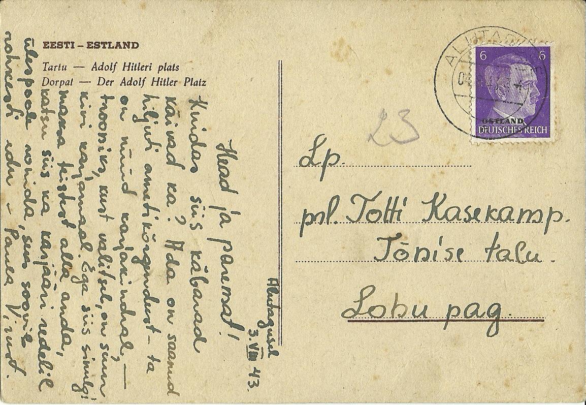 Alutaguse-Lohu-1943-postitempel-postiajalugu-ee
