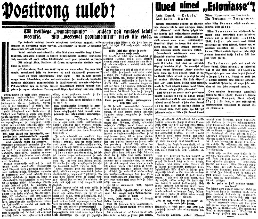 Postirong tuleb, Maa Hääl, maarahva ajaleht, nr. 136 lk 4, 18.11