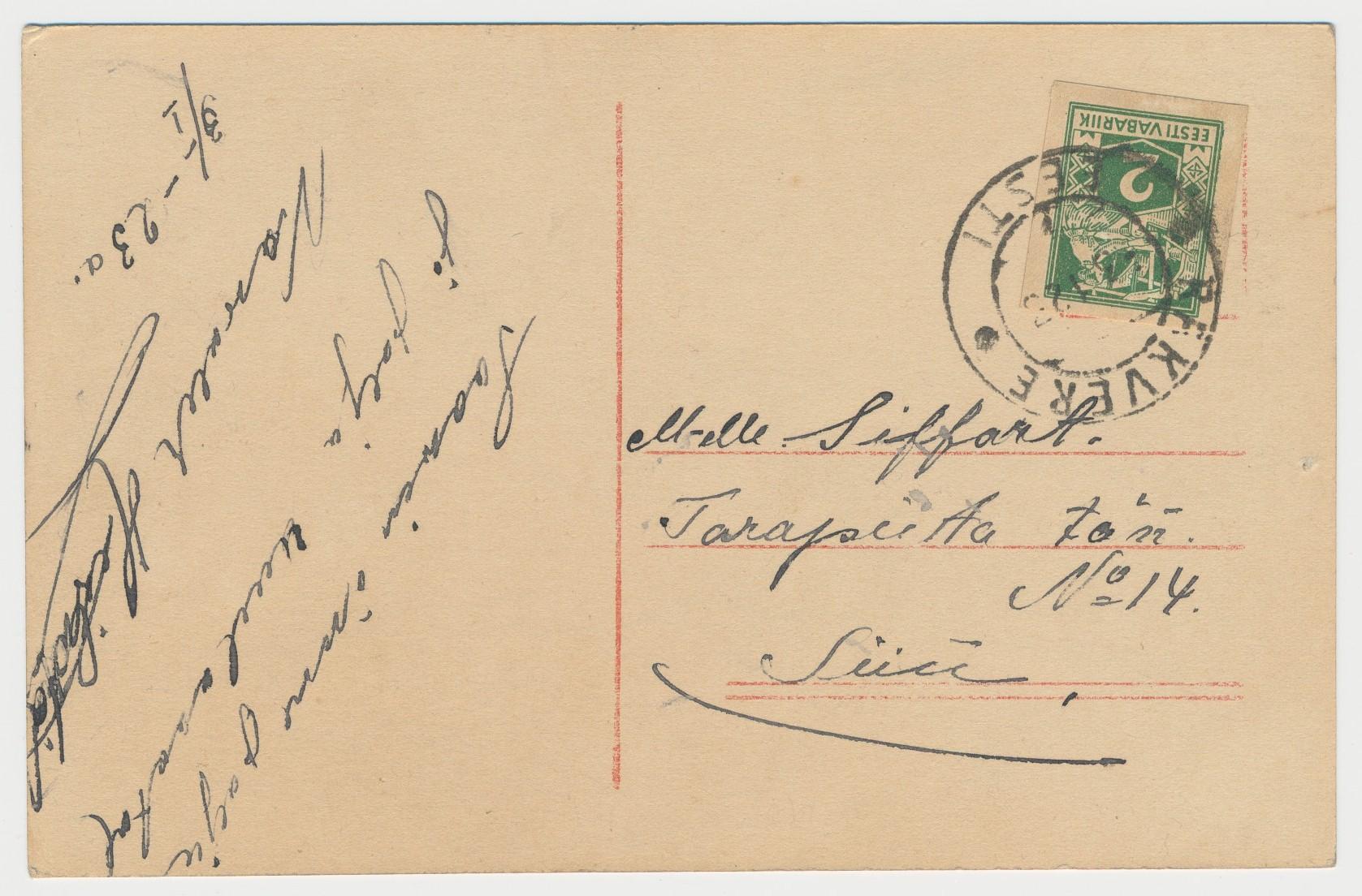 """Rakvere 3.01.1923, kohalik (""""Siin"""") postkaart, 2 marka."""