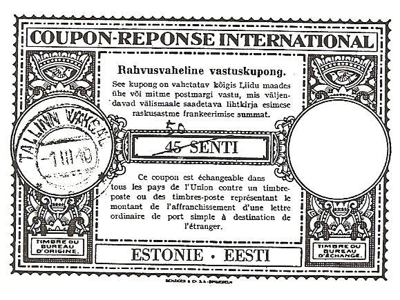 ''Londoni muster'' (UPU 9. kongressilLondonis 1929.a. kinnitatud kujundus). Eesti CRI nr. 6 a.