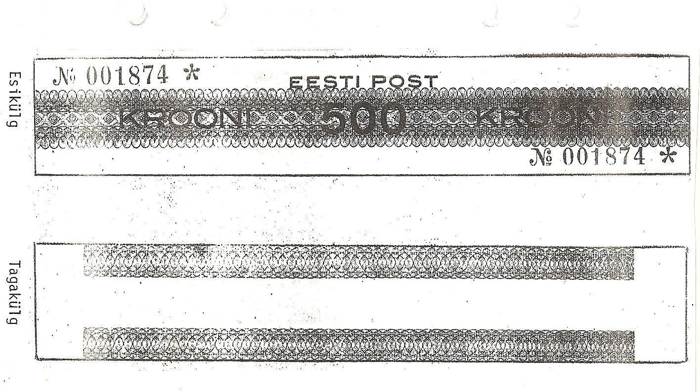 """Eesti Posti frankeerimismasina (""""Frankotyp"""") kontrollkaart, mis tuli müügile 29. septembril 1929. Frankeerimisväärtus 500 krooni. Kas see on postmark?"""