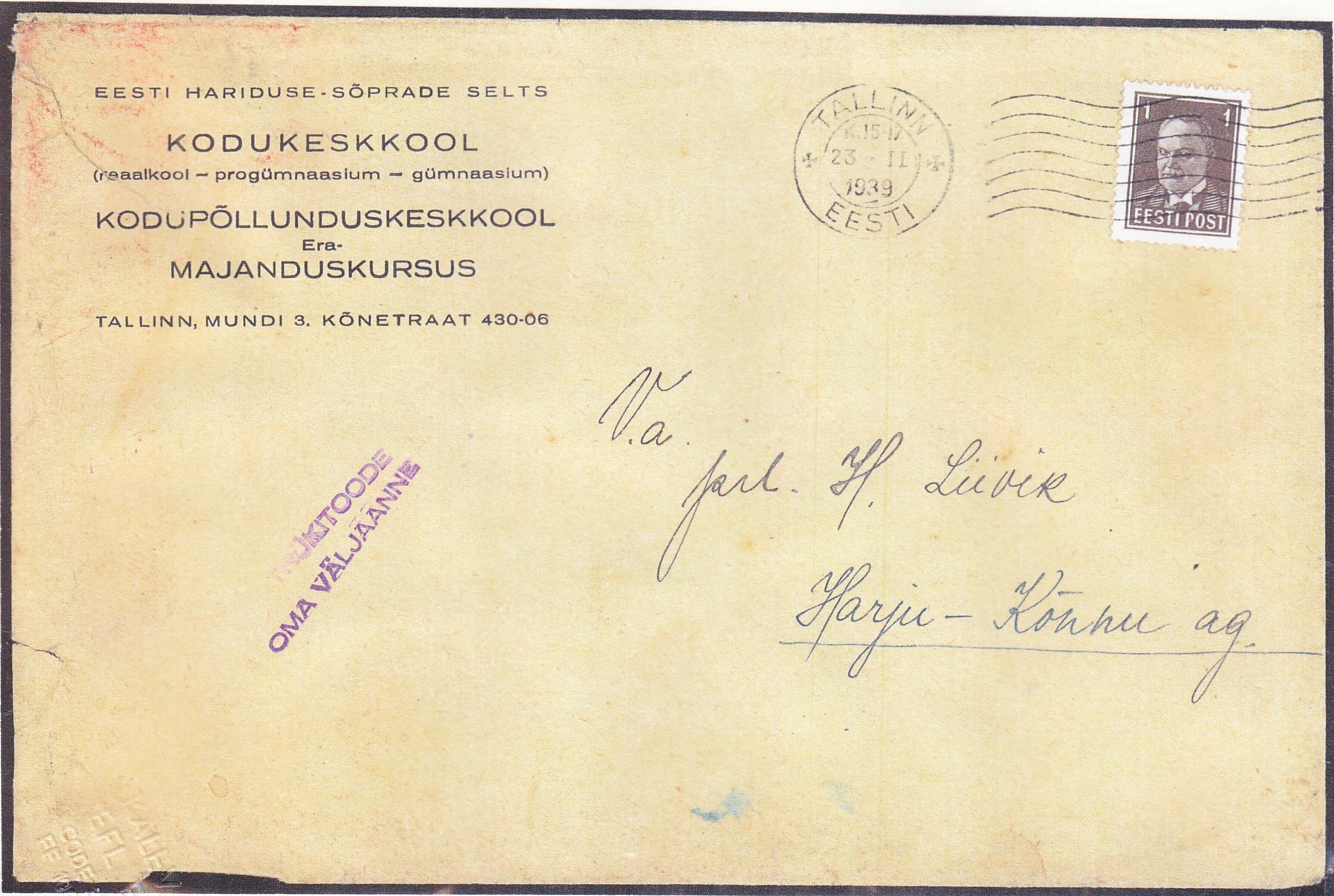 1939-11-23  Tallinn.  Omakirjastus-trükitöö kuni 50 grammi.