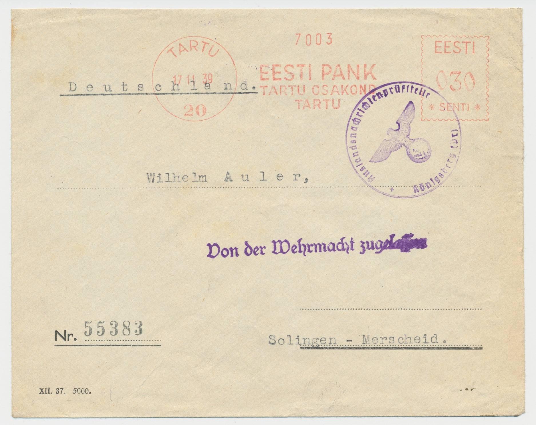 Litsents 20, Eesti Panga Tartu osakond. 1939-11-17, kiri  Solingen-Mehrscheidi Saksamaale.