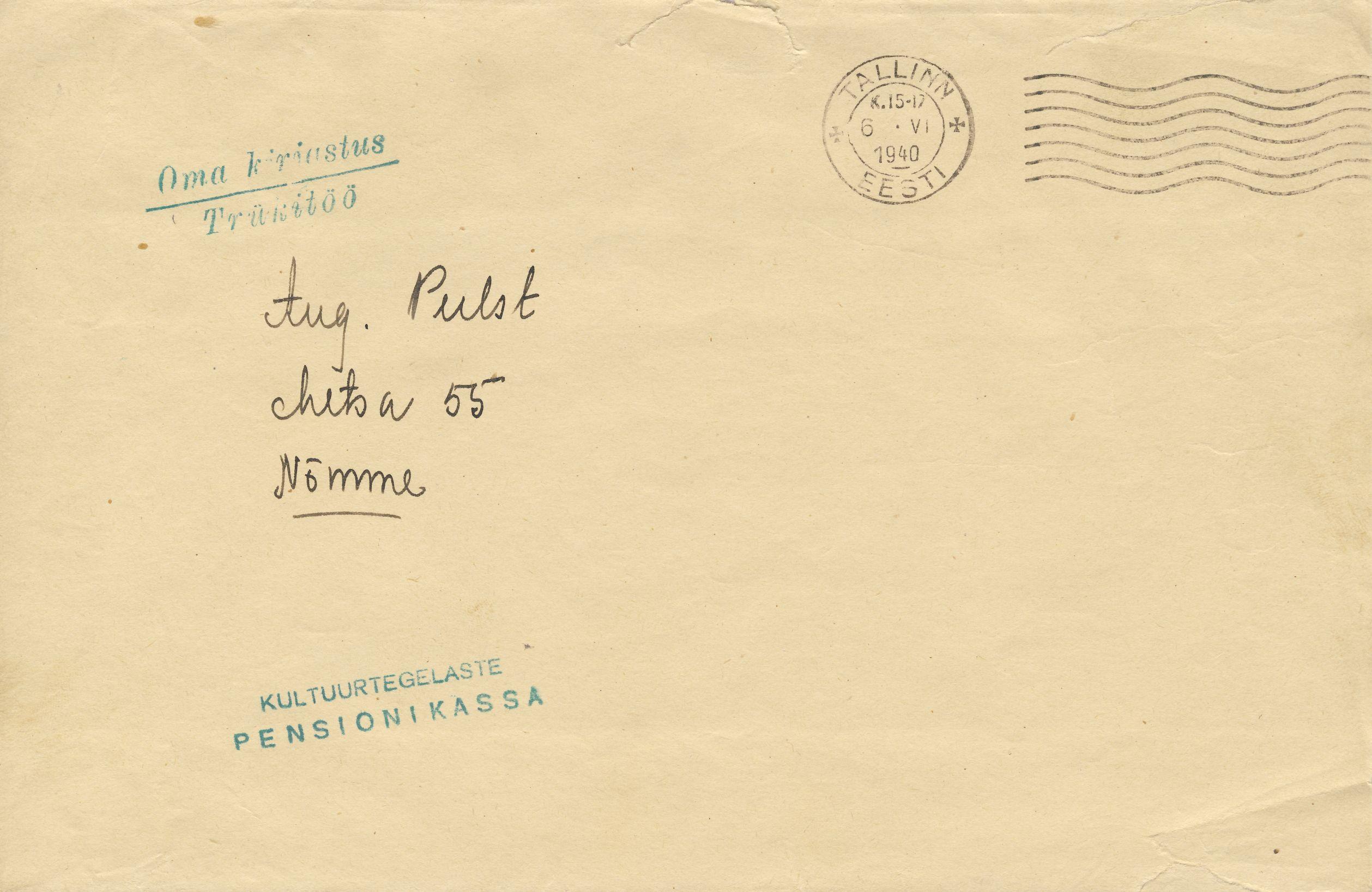 1940-06-06  Tallinn. Omakirjastus trükitöö kuni 50 grammi. Postimaks peaks olema. 1½ Senti – ümardatult seega 2 Senti – kuidas see on tasutud?